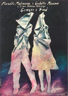 Ginger and Fred / Ginger i Fred Original Polish movie poster film, Italy director: Federico Fellini actors: Marcello Mastroianni, Giulietta Masina designer: Andrzej Pagowski year: 1987 Polish Movie Posters, Film Posters, Poster On, Poster Prints, Fred And Ginger, Movie Prints, Original Movie Posters, Buy Posters, Illustrators