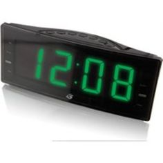 GPX - Clock Radio Digital AM/FM radio red LED display Dual alarm Radio or alarm wake Sleep timer Snooze Station memory presets Battery backup Requires 2 Desktop Clock, Tv Stand With Mount, Black Clocks, Black Friday Specials, Gadget Shop, Green Led, Radio Alarm Clock, Home Gadgets