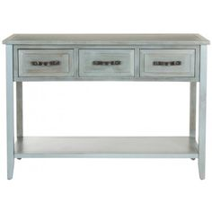 Pretty up a hallway or living room wall with the country-fresh Aiden console table with distressed pale blue finish with a hint of white. Crafted of sturdy elm wood, Aiden is designed with charming framed fronts on its three ample drawers plus a bottom shelf to solve your storage woes. With straight lines and casual finish, this piece adapts to any casual decorating style.