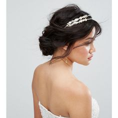 Ribbon & Asher Delicate Half Double Head Band ($17) ❤ liked on Polyvore featuring accessories, hair accessories, gold, headband hair accessories, leaves garland, crown headband, headband crown and ribbon headband