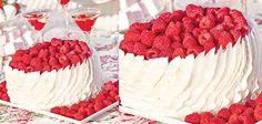 Raspberry Ribbon Cake by Sandra Lee Just Desserts, Delicious Desserts, Ribbon Cake, Cupcake Cakes, Cupcakes, Fun Deserts, Semi Homemade, My Dessert, Raspberries