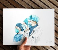 Health Care Workers original watercolour painting | Etsy Care Worker, Paper Dimensions, Watercolour Painting, Health Care, Craft Supplies, Portraits, Etsy Shop, The Originals, Handmade Gifts