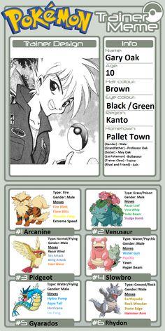 Gary Oak, Pokemon Bulbasaur, Pikachu Art, Flying Type, Male Gender, Pokemon Games, Tokyo, Nintendo, Characters
