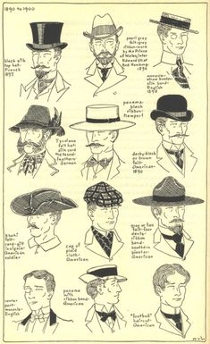 1890-1900 Men's  THE MODE IN HATS AND HEADDRESSBy R. Turner Wilcox
