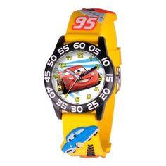 Disney-Pixar Cars Lightning McQueen 3D Yellow Strap Watch