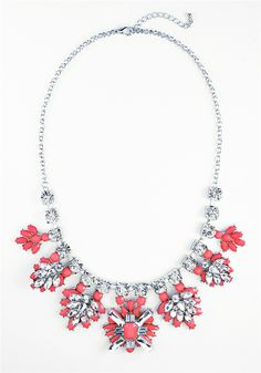 54c9c819f22 Coral Stone Bib - silver tone glass crystal statement necklace by Shamelessly  Sparkly $29.90 Mint Necklace