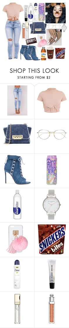 """🧝🏾‍♀️"" by slaybxby ❤ liked on Polyvore featuring ZAC Zac Posen, RetroSuperFuture, Oscar Tiye, Olivia Burton, Ashlyn'd, Bobbi Brown Cosmetics, Clarins, Christian Dior and Hershey's"