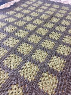 Hand Crocheted Grey/Green Granny Afghan by deannascraps on Etsy