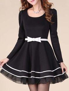 Elegant Round Neck Blended  Skater Dress Skater Dresses from fashionmia.com