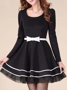 Elegant Round Neck Blended  Skater Dress Skater Dresses from fashionmia.com