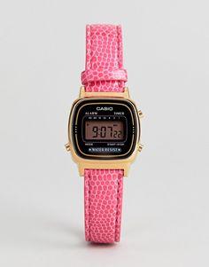 5b5097f34535 Shop Casio Mini Pink Leather Digital Watch at ASOS.