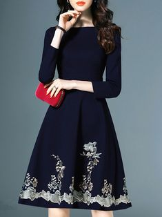 General Blue X-line Dress Black Day Dresses Above Knee Elegant Polyester Round Neckline Spring Long Sleeve XS Summer Floral S M L Skater Dress Date Dresses, Modest Dresses, Casual Dresses, Fashion Dresses, Dresses With Sleeves, Fashion 2018, Latest Fashion, Cheap Fashion, Fashion Clothes