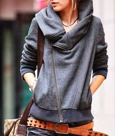 Cozy Gray Side Zip Hoodie Jacket