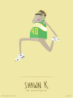 Shawn Kemp, 1991.Nike Air Flight '89You could tell how hungry Shawn was by the way he slammed the ball into the hoop in that contest. Best Dunk Ever!Shop this poster >