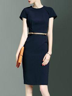 Shop Midi Dresses - Simple Short Sleeve Plain Midi Dress online. Discover unique designers fashion at StyleWe.com.