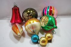 6 Christmas Glass Balls Teardrop and Round Shiny 1950 Christmas Ornaments - pinned by pin4etsy.com