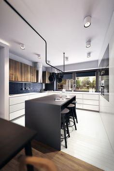 Sort/hvid køkkenø