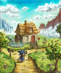 A little house by Satoshi-Takahara on DeviantArt Illustration Art Drawing, Art Drawings, Winter Fairy, Sword And Sorcery, Old Games, Water Colors, Card Maker, Science Fiction, Perspective