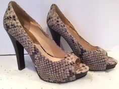 MICHAEL KORS Snake Skin Tan & Black Leather Peep Toe Heel Pumps Italy Size 8 #MichaelKors #PlatformsWedges