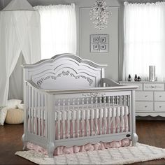 Evolur Aurora Grey Wood 5-in-1 Convertible Crib
