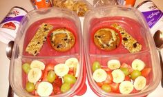 Bento Lunch box idea 1-12-16 Blueberry muffin Banana/strawberries/grapes Yogurt Granola bar