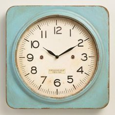 Aqua Metal Square Wall Clock | World Market
