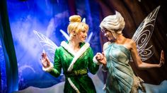 Tinker Bell holds hands with frost fairy Periwinkle at Tinker Bell's Magical Nook in Adventureland Disney World Trip, Disney World Resorts, Disney Cruise, Disney Parks, Disney Love, Disney Magic, Disney Stuff, Tinkerbell And Terence, Attraction World