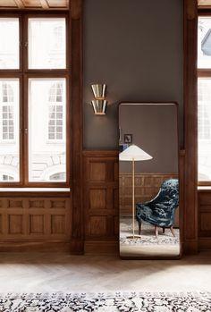 GUBI // 9464 Wall Lamp, 9602 Floor Lamp, Adnet Wall Mirror, Adam Lounge Chair