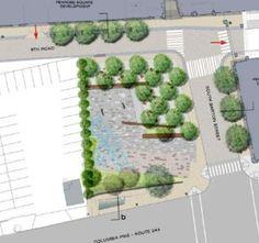 Rendering of the future Penrose Square Public Plaza on Columbia Pike - Modern Urban Landscape, Landscape Design, Plaza Design, Pocket Park, Plan Sketch, Public Square, Plan Drawing, Urban Park, Natural Park