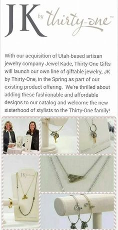 JK by Thirty-One...COMING IN MARCH... just in time for Mother's Day... Thirty one will be carrying a like of jewelry AGAIN... https://www.mythirtyone.com/JenSchomaker
