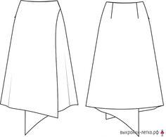 Технический рисунок готовой выкройки юбки-колокол с запахом