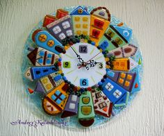 "Handmade Fused glass wall clock ""Township"", wall art, town, wall clock, home… Handmade Wall Clocks, Unique Wall Clocks, Handmade Home Decor, Fused Glass Art, Mosaic Glass, Stained Glass, Wall Clock Glass, How To Make Wall Clock, Diy Clock"
