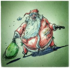 8 #Santa #claus #SantaClaus #drawing #StNicholas #christmas #HappyHolidays #ink #watercolour #sketch #cartoon #art