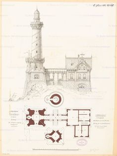Monthly competition June 1881 - Floor plans on three levels: ground floor, upper floor, tower, side view; Scale bar and storage / l - Fantasy Places, Fantasy Map, Fantasy World, Vintage Architecture, Architecture Drawings, Rpg Map, Vintage House Plans, Building Concept, Antique House