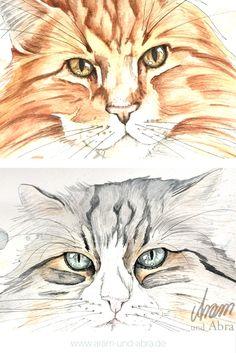 Katzenaugen: Tierportraits Katze (Maine Coon). Aquarell auf Zeichenpapier. Handgemalt von Aram und Abra.