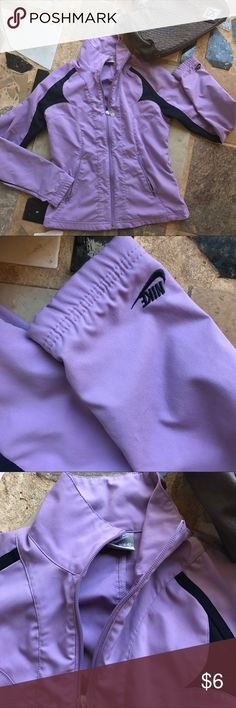 NIKE purple zip jacket small Size small. Moderate wear. Some snags front of Jacket. Just chill at home in this one :) great price still. 💜 xo Nike Jackets & Coats