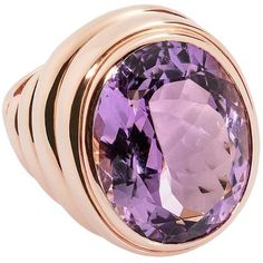 Preowned Colleen B. Rosenblat Amethyst Gold Ring ($7,447) ❤ liked on Polyvore featuring jewelry, rings, purple, cocktail rings, yellow gold rings, statement rings, purple amethyst ring and 18k ring