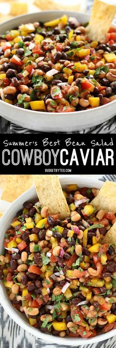 Cowboy Caviar Dip Recipe - Vegan - Budget Bytes - - Cowboy Caviar is like a cross between a bean salad and fresh salsa with its colorful mix of beans, vegetables, and a fresh lime infused dressing. Caviar Recipes, Bean Salad Recipes, Slow Cooking, Cooking Recipes, Vegan Budget, Appetizer Recipes, Appetizers, Cowboy Caviar, Cowboy Cowboy