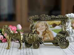 """Amazon.com - Horse Carriage Photo Frame - 4"""" x 6"""" Picture Frames - Cute Tin Alloy & Glass Home Decor - Great Baby Shower Gift, Wedding Gift & More -"""