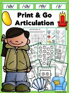 Articulation Activities. Print & Go Articulation Therapy Activities for - SH, CH, TH, J