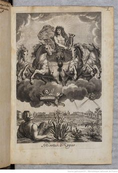 A wonderful image of Apollo and his chariot. From 'Remarques sur la santé du roy'  1601-1700