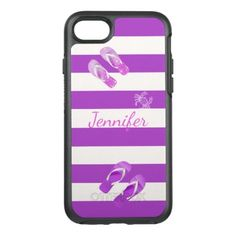 #pink - #Flip flops crab on white purple stripes add name OtterBox symmetry iPhone 7 case