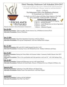 Join the Third Thursday Parkinson Cafe @ The Highlands in Pittsford, NY