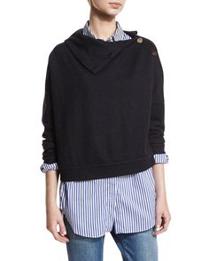 Cashmere Button-Side Sweater, Navy/Anthracite (Blue/Grey) - Brunello Cucinelli