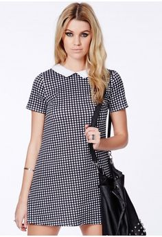 Missguided - Huby Checked Collar Dress