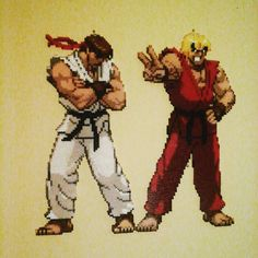 Ryu and Ken - Street Fighter perler beads by Sulley45635