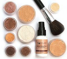 29.99$ iQ Natural Mineral Makeup Starter Kit – Powder Brush, Silk Primer, Mineral Foundation , Setting Veil , Bisque Concealer, Bronzer + Eye Shadow for Flawless Bare Looking Skin, Full Set (Fair)