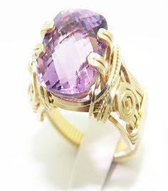 Gold Gemstone Wire Wrap Jewelry 14K  Gold Filled Ring Jewelry Amethyst Statement Cocktail Ring