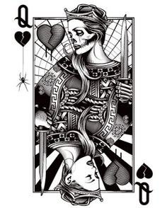 Queen of Hearts/Queen of Hurts. Not sure why the dead Queen is on top of the living one… I would flip this card the other way then get it tattooed. I need to get this! My bf wanted me to pin it for him, but Im determined to get it first lol.