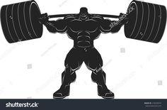 Bodybuilder with a barbell,  illustration vektor